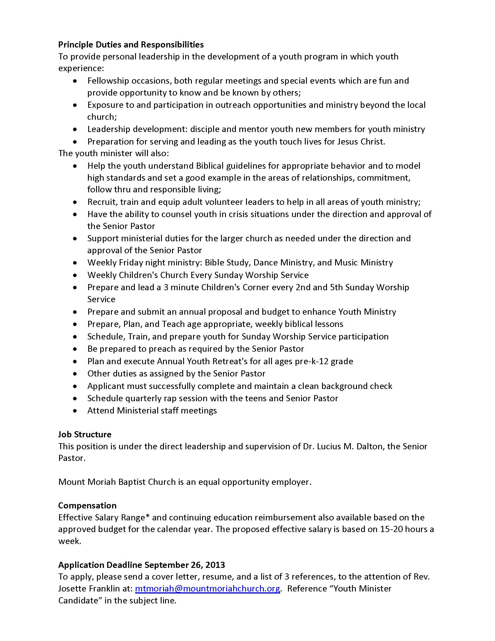 mmbc youth minister position description revised 8 29 20131_page_2 - Sample Pastoral Resume